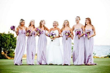 Светло-сиреневые платья для подружек невесты