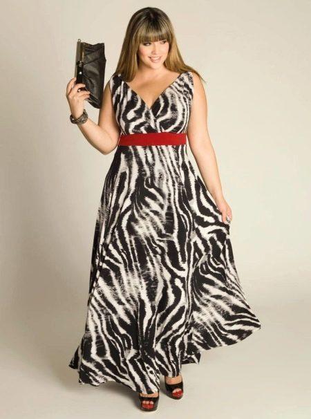 Вечернее платье для полных с рисунком зебра