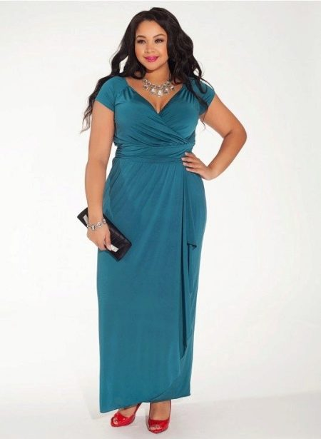 Платье для полных вечернее синее
