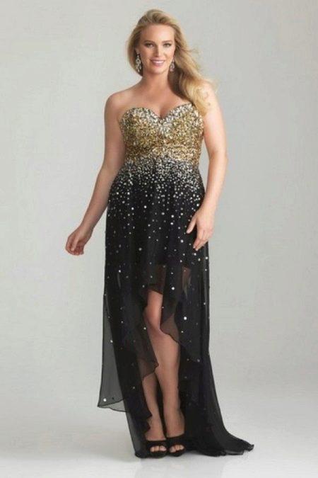 Короткое вечернее платье для полных ассиметричное