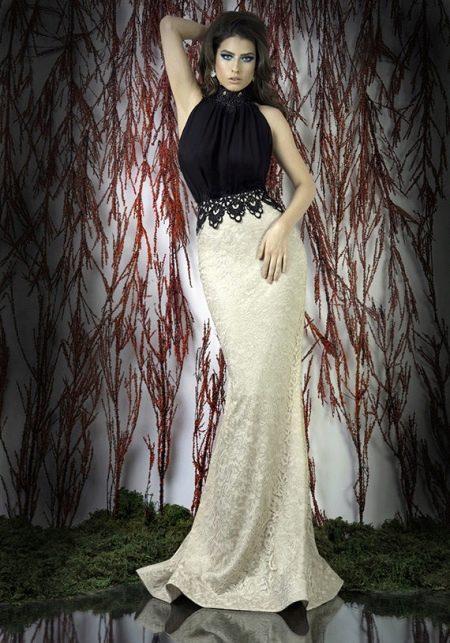 Платье вечернее черно-белое с кружевом