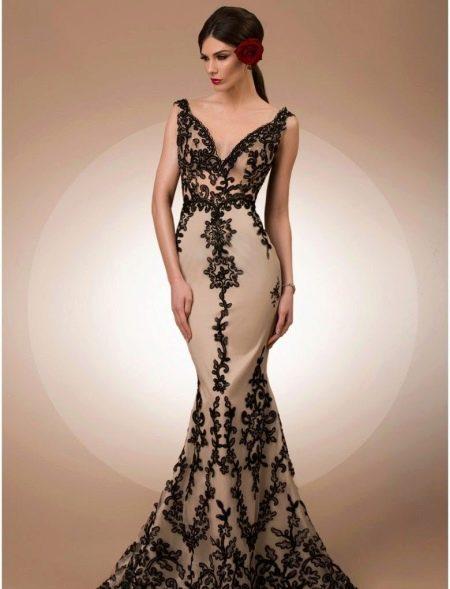 Платье русалка с кружевом