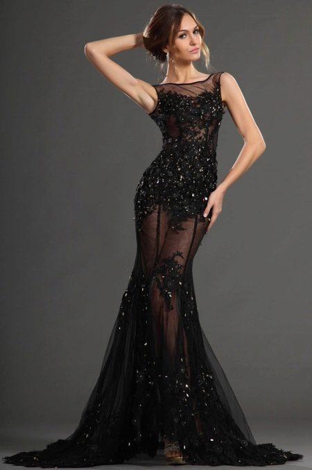 Вечернее платье русалка кружевное прозрачное
