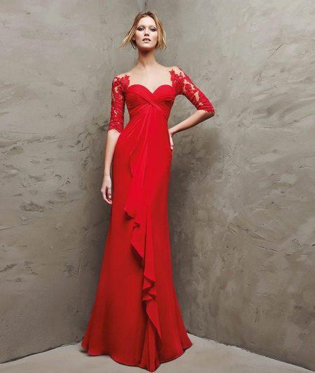 красное вечернее платье с гипюром от проновиас