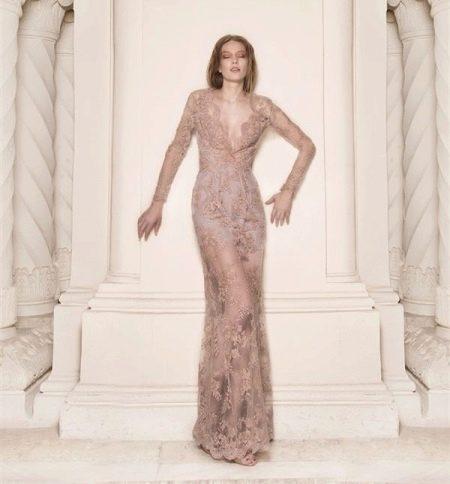Платье вечерне прозрачное с рукавами