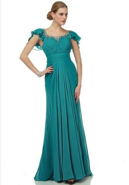 Бирюзовое платье ампир для мамы жениха
