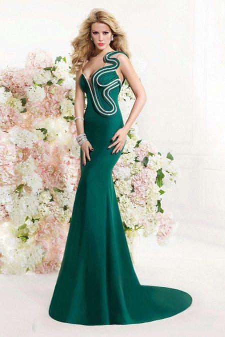вечернее платье русалка зеленое с орнаментом