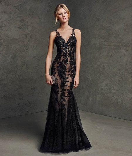 Вечернее платье русалка из кружева с подкладкой
