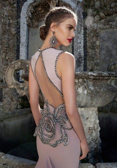 Вечернее платье русалка с цветком на поясе