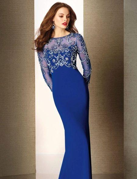 Синее вечернее платье с длинным рукавом