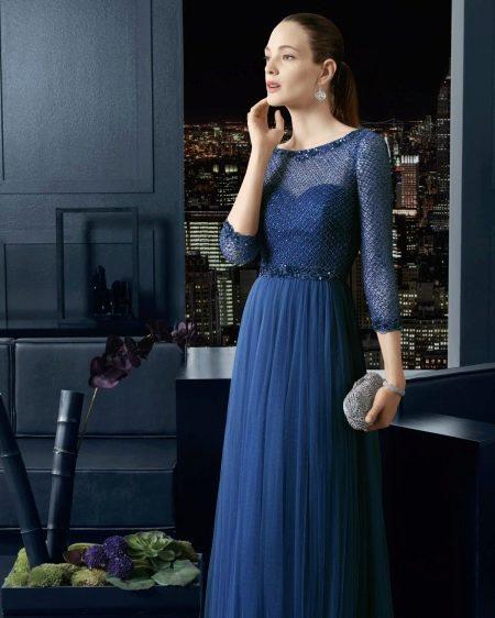 Вечернее платье в пол с рукавом три четверти