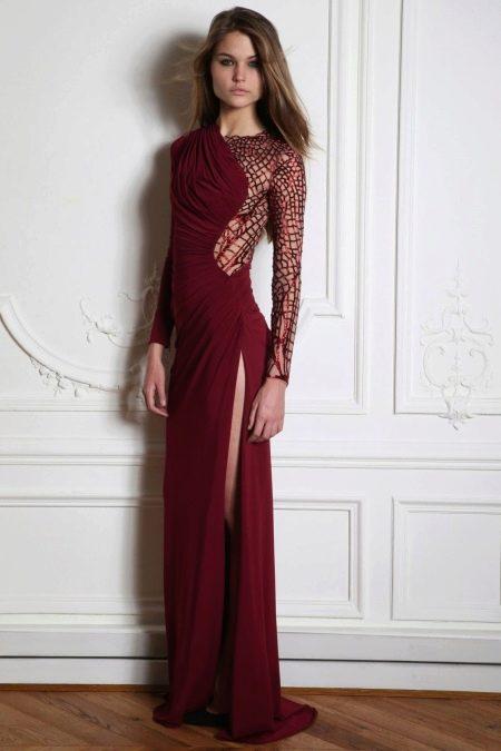 Вечернее платье в пол с кружевным рукавом