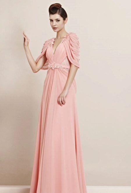 Вечернее платье в пол с рукавами с драпировкой