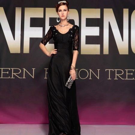 Черное вечернее платье длинное с рукавами