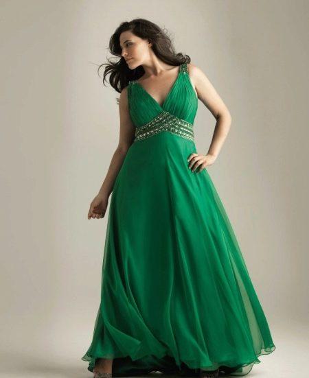 Вечернее зеленое платье для полных  ампир