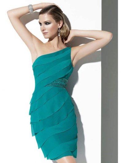 Вечернее платье зеленое мини на одно плечо