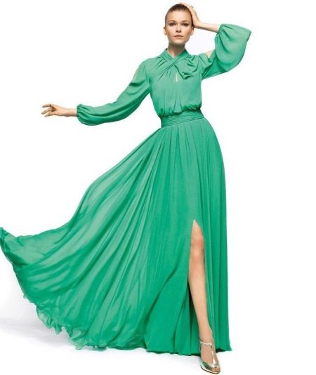 Зеленое платье вечернее с длинными рукавами