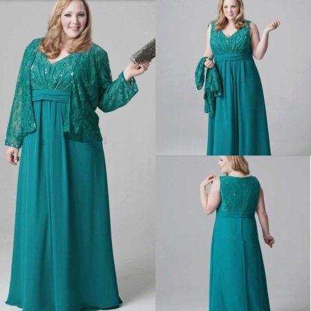 Изумрудное платье для полных