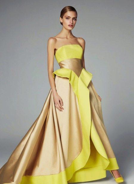Пышное желтое вечернее платье