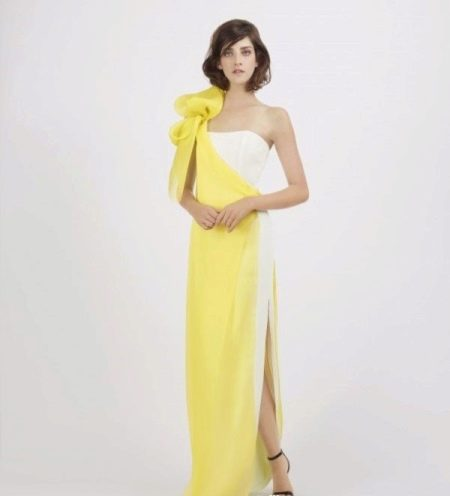 Вечернее платье желто-белое