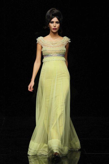 Лимонное платье вечернее в стиле ампир