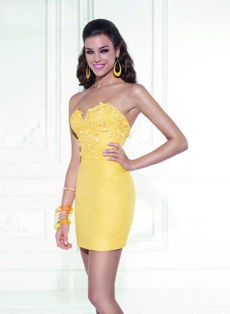 Вечернее желтое платье короткое от Тарика Эдиз