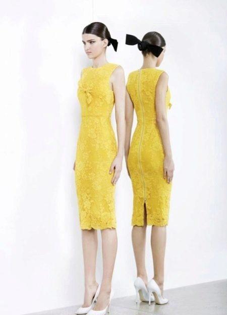 Вечернее платье желтое кружевное