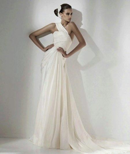 Свадебное платье из атласа  в греческом стиле