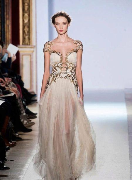 Греческое вечернее платье с золотом