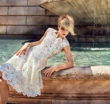 Платье кружевное белое вечернее