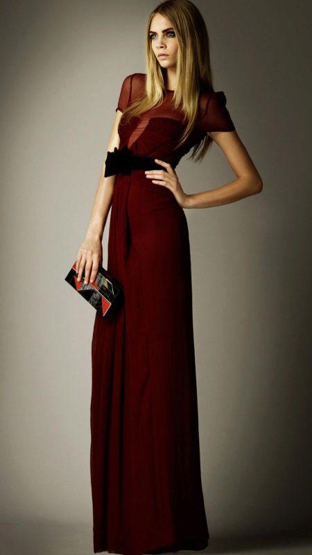 Вечернее платье бордовое с клатчем