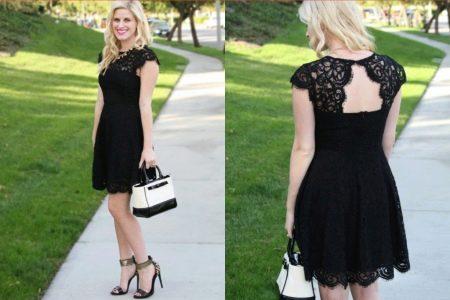 Короткое кружевное черное вечернее платье