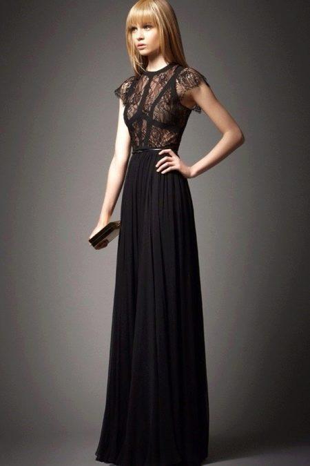Черное вечернее платье с кружевным верхом