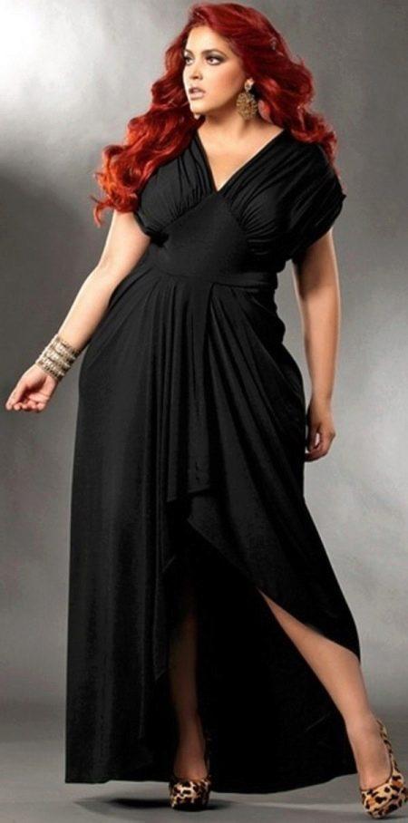 Черное вечернее платье для полных длинное с ассиметричной юбкой