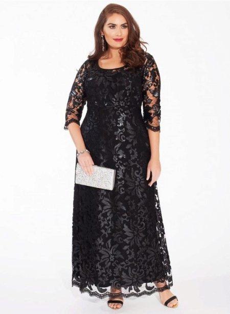 Платье вечернее с кружевом черное для полных
