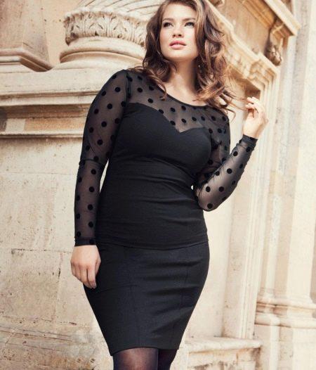 Вечернее черное платье для полных