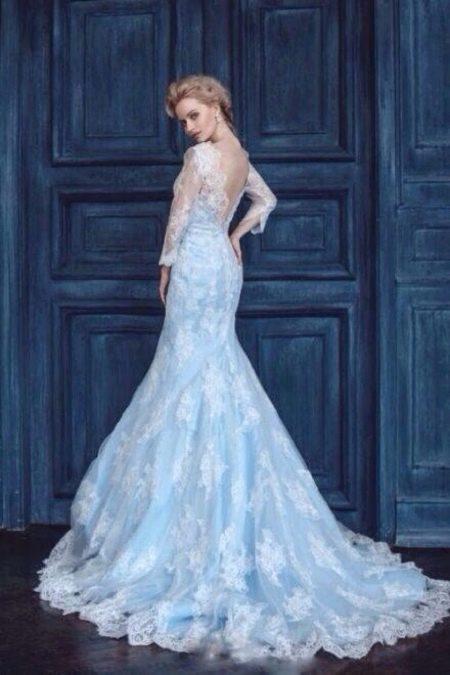 Цветное кружевное свадебное платье