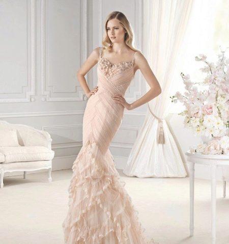 Свадебное платье пастельного цвета русалка