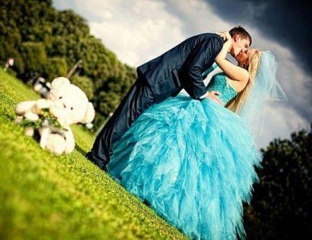 Платье свадебное бирюзовое