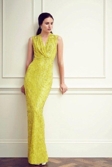 Вечернее платье дорогое желтое