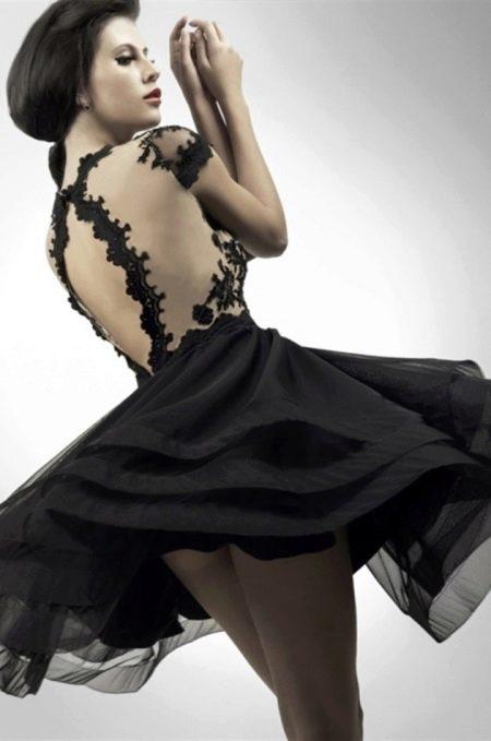 Вечернее платье короткое с открытой спиной