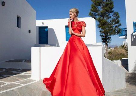 Вечернее платье красное с кружевным верхом