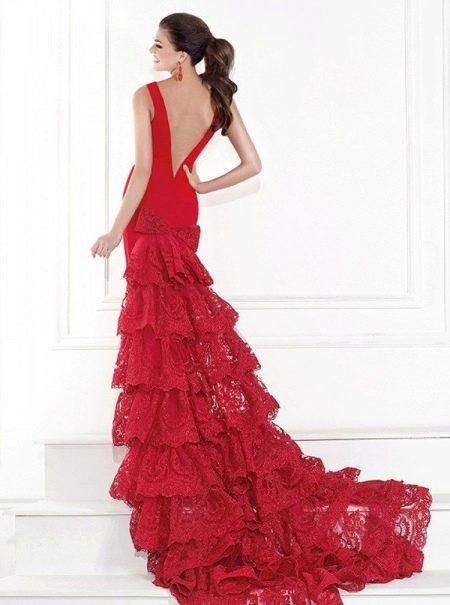Красное платье русалка вечернее с кружевной спиной