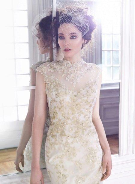 Свадебное кружевное кружевное с бисером