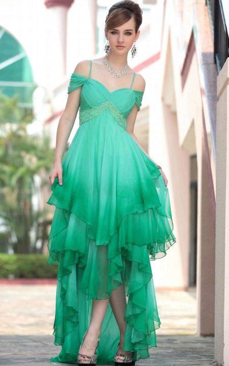 Ассиметричное зеленое платье вечернее из шифона