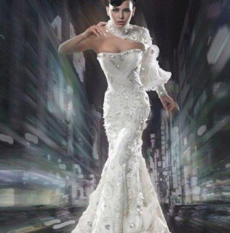 Вечернее платье белое гламурное с одним рукавом