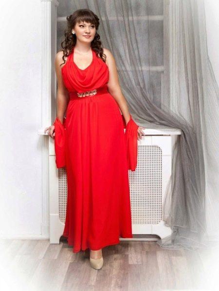 Красное вечернее нарядное платье в пол для полных