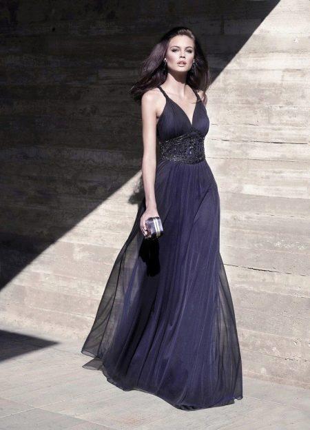 Синее недорогое вечернее платье в пол