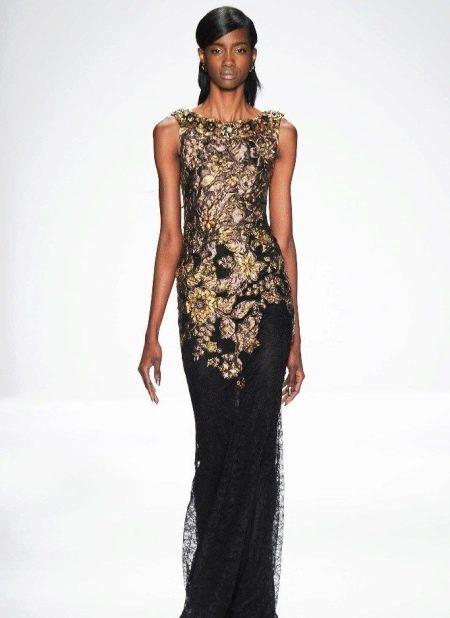 Вечернее платье с золотом от Badgley Mischka