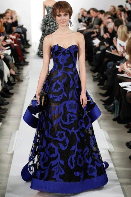 Сине-черное вечернее платье